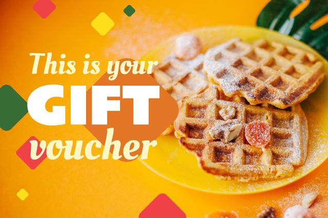 Plantilla de diseño de Appetizing Sweet Waffles in Yellow Gift Certificate