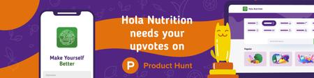 Product Hunt Healthy Nutrition App on Screen Web Banner Modelo de Design