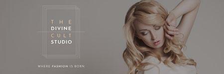 Beauty Studio Ad with Attractive Blonde Email header – шаблон для дизайну