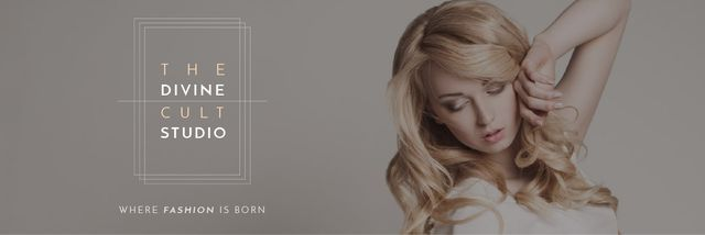 Beauty Studio Ad with Attractive Blonde Email header Tasarım Şablonu