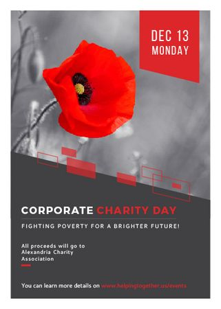 Corporate Charity Day announcement on red Poppy Flayer Modelo de Design