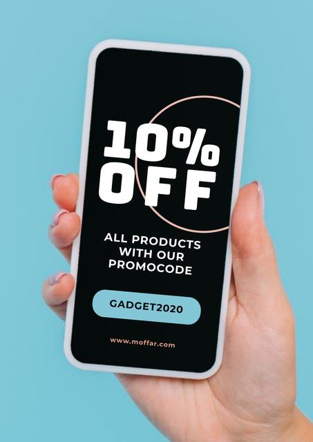 Plantilla de diseño de Shop Sale with Woman holding Smartphone Poster