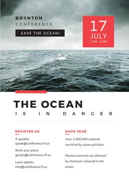 Ecology Conference Invitation Stormy Sea Waves | Flyer Template