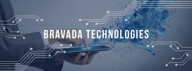 Plantilla de diseño de Technology ad with Man using Tablet Facebook cover