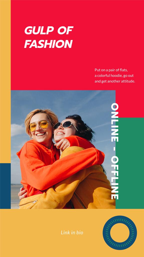 Plantilla de diseño de Fashion Collection ad with Happy Women hugging Instagram Story