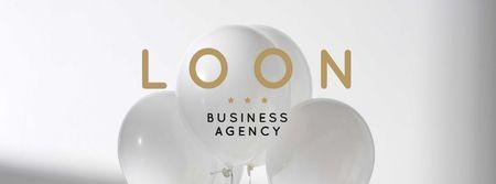 Plantilla de diseño de Balloons in White for Business agency Facebook cover