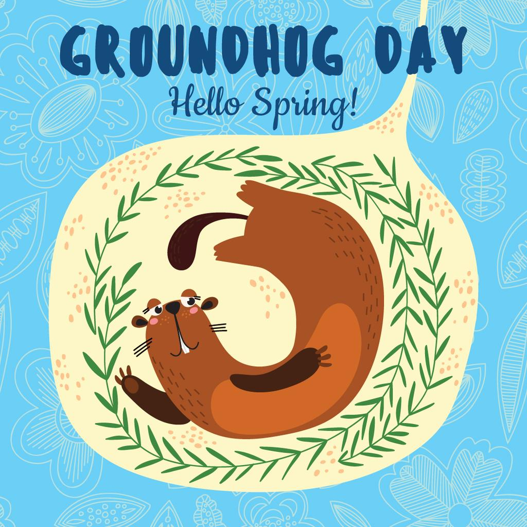 Cute funny animal on Groundhog Day — Create a Design