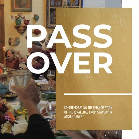 Plantilla de diseño de Passover Celebration with Family at Dinner Table Animated Post