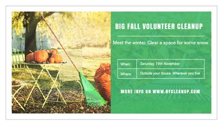 Volunteer Cleanup Announcement Autumn Garden with Pumpkins Title – шаблон для дизайну