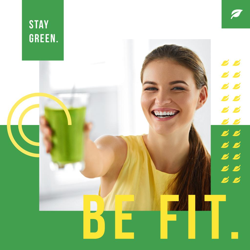 Girl drinking green smoothie — Modelo de projeto