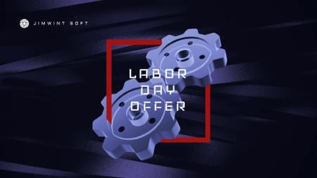 Labor Day Offer Blue Cogwheels Mechanism Full HD video – шаблон для дизайна