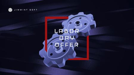Labor Day Offer Blue Cogwheels Mechanism Full HD video Modelo de Design