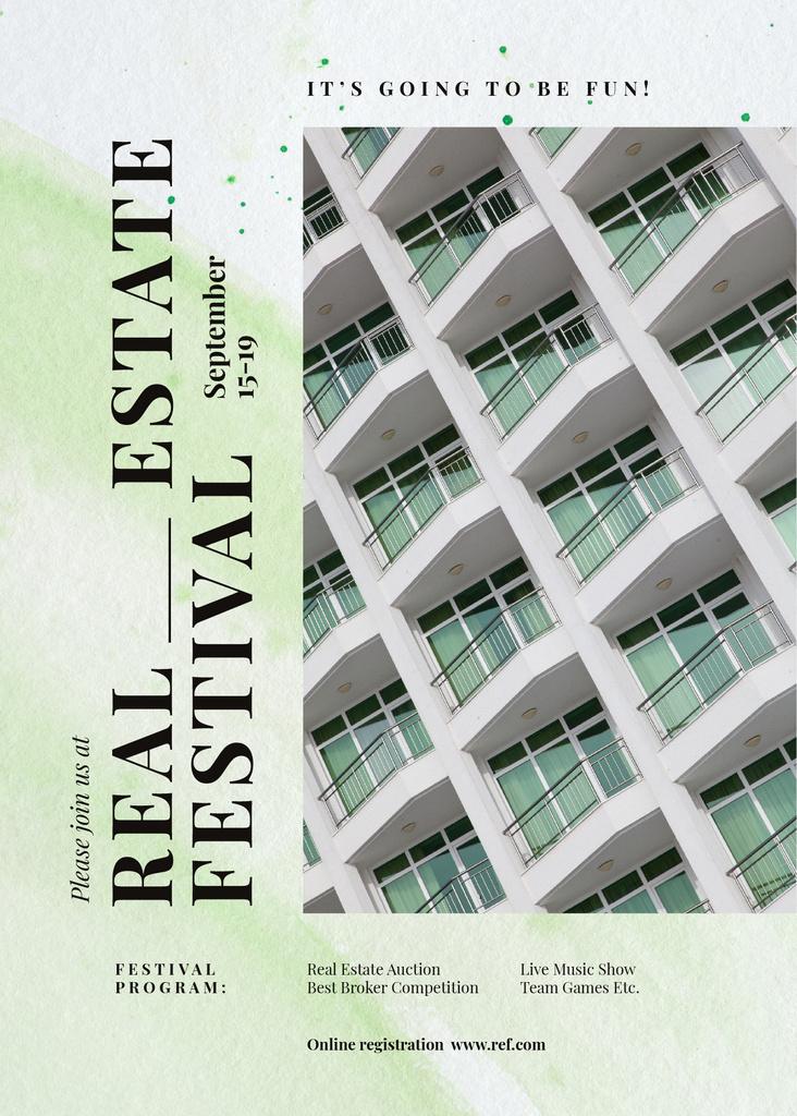 Real Estate festival announcement on Modern building — Créer un visuel