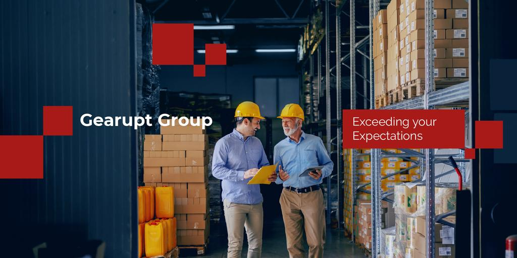 Logistics Services with workers at Warehouse — Crea un design