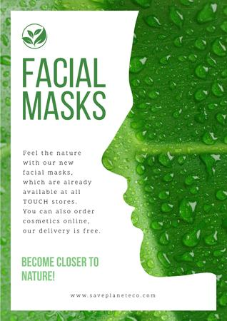 Facial masks with Woman's green silhouette Poster – шаблон для дизайну