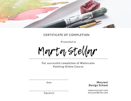 Watercolor Online Course Completion confirmation Certificate Modelo de Design
