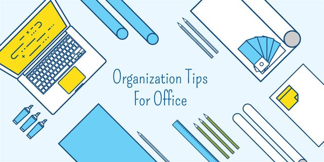 Organization tips for office Twitter – шаблон для дизайна