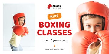 Boxing Classes Ad Boy in Red Gloves | Twitter Post Template