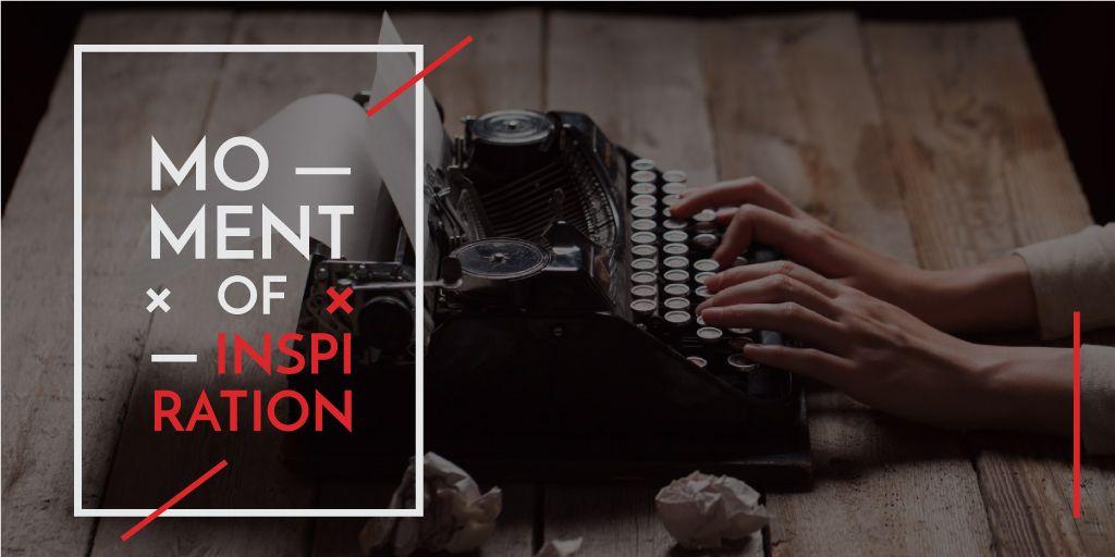 female hands typing on old vintage typing machine — Créer un visuel