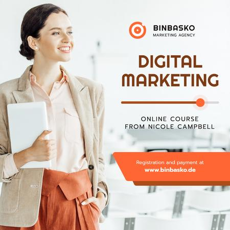 Plantilla de diseño de Marketing Courses Woman with Laptop Instagram AD