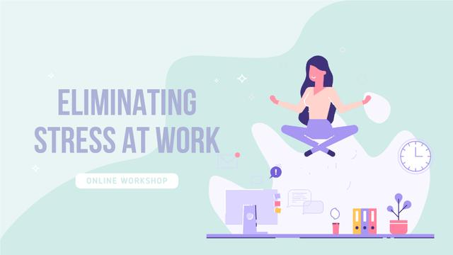 Template di design Woman meditating to eliminate stress at work Full HD video