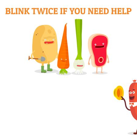 Plantilla de diseño de Funny groceries and sausage characters Animated Post