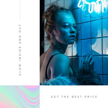 Store Offer with Stylish woman in neon