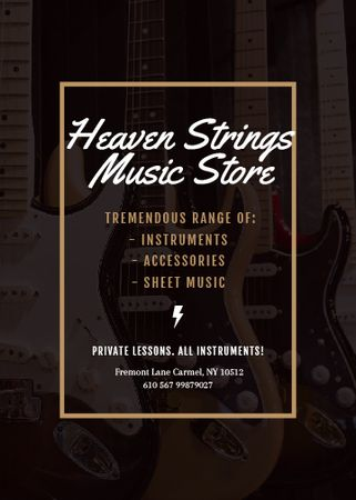 Template di design Guitars in Music Store Invitation