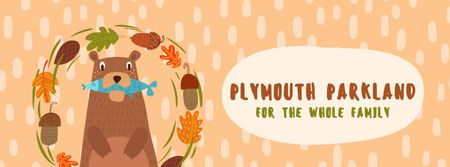 Plantilla de diseño de Bear with fish in autumn frame Facebook Video cover