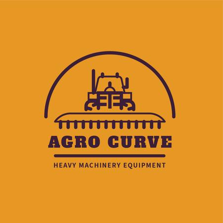 Heavy Machinery with Harvester Working in Field Logo Modelo de Design