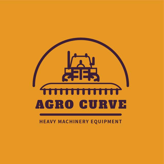 Designvorlage Heavy Machinery with Harvester Working in Field für Logo