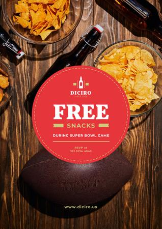 Plantilla de diseño de Super Bowl Offer with Beer and Snacks Poster
