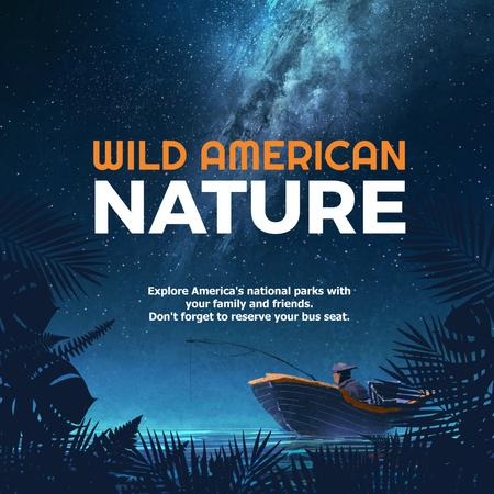 Wild american nature night Forest Instagram AD – шаблон для дизайну