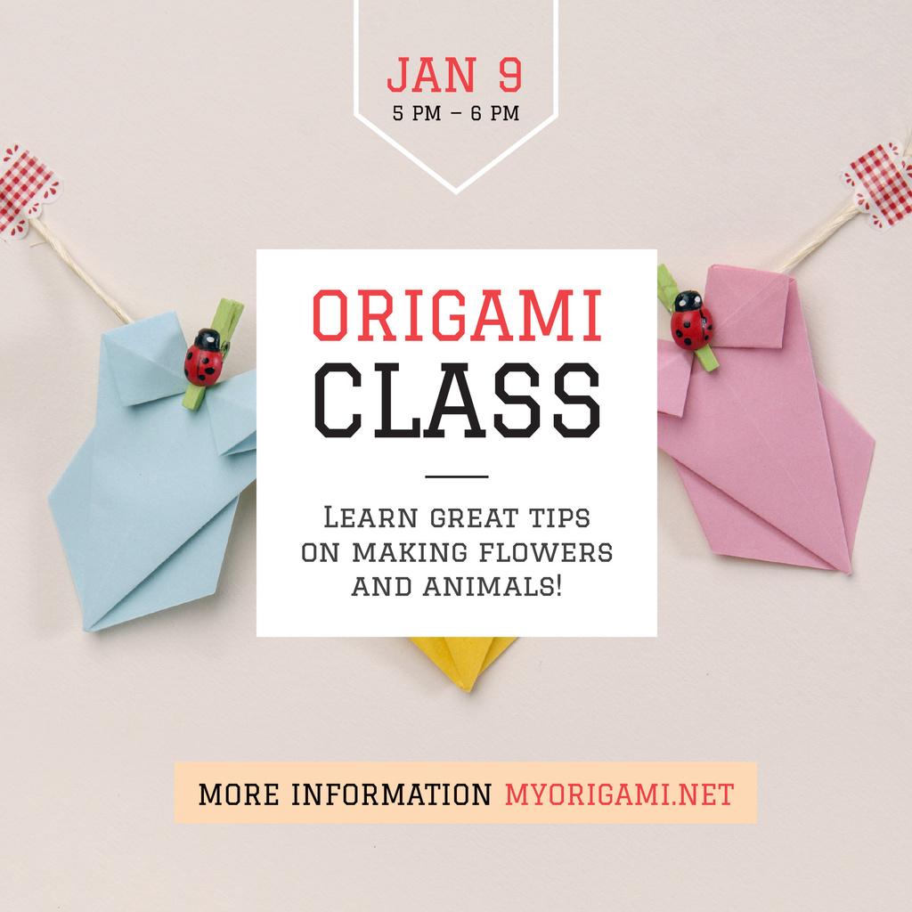 Modèle de visuel Origami Classes Invitation Paper Garland - Instagram AD