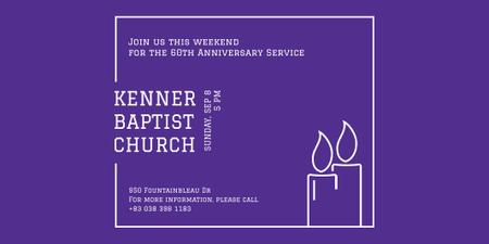 Template di design Baptist Church Invitation with Candles Twitter