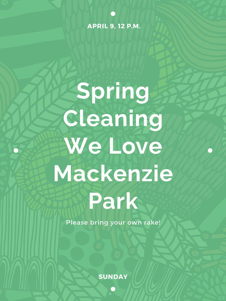 Spring Cleaning Event Invitation Green Floral Texture — Crea un design