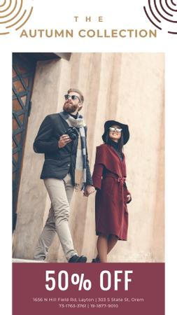 Ontwerpsjabloon van Instagram Video Story van Autumn Sale Ad with Stylish Couple on Street