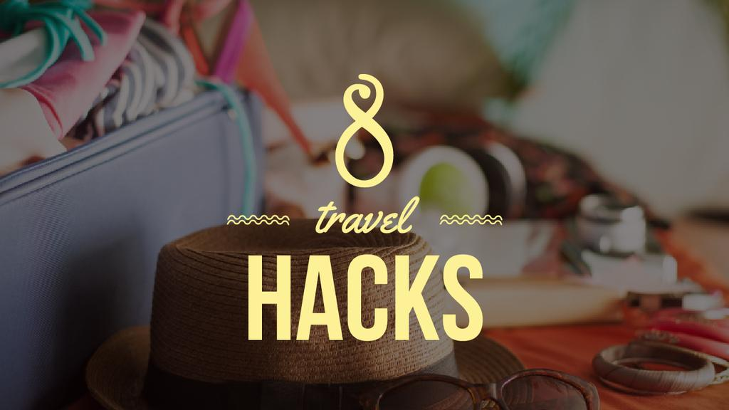 Travel Hacks Ad Clothes in Travel Suitcase | Youtube Thumbnail Template — Створити дизайн
