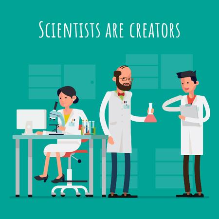 Team of scientists in laboratory Animated Post Modelo de Design