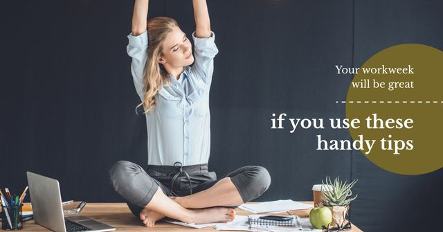 Woman Stretching at Workplace Facebook AD Design Template