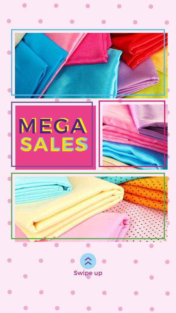 Sale Ad with Colorful textile pieces — Crear un diseño