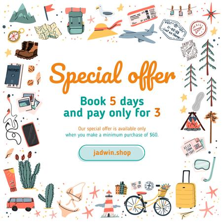 Plantilla de diseño de Travelling Tour Offer Icons Frame Instagram