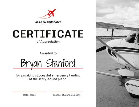 Plantilla de diseño de Plane Pilot Appreciation from airlines company Certificate