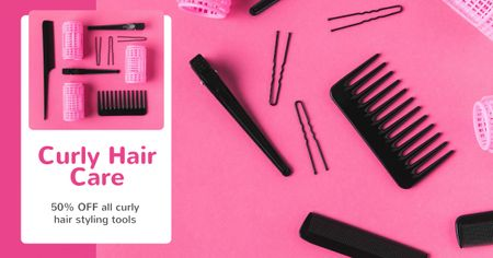 Plantilla de diseño de Hairdressing Tools Sale in Pink Facebook AD