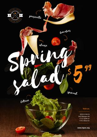 Spring Menu Offer with Salad Falling in Bowl Poster Tasarım Şablonu