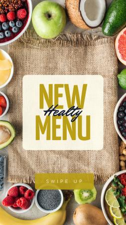 Healthy Menu Ad with Fresh Fruits Instagram Story Tasarım Şablonu