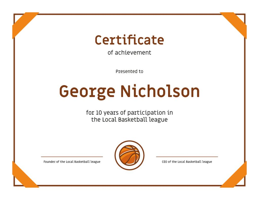 Basketball League participation anniversary Achievement — Modelo de projeto