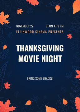 Thanksgiving Movie Night Invitation Orange Autumn Leaves | Flyer Template