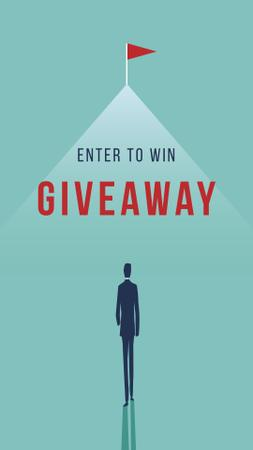 Giveaway ad with Businessman and flag Instagram Story Modelo de Design