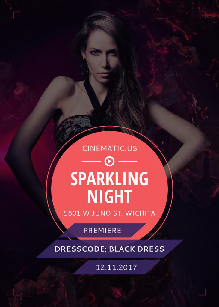 Night Party Invitation Woman in Black Dress — Maak een ontwerp